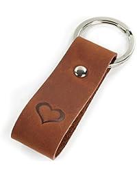 Schlüsselanhänger mit Gravur, echtes Leder mit geprägtem Herz - edles Geschenk für Damen & Herren - Geschenkbox