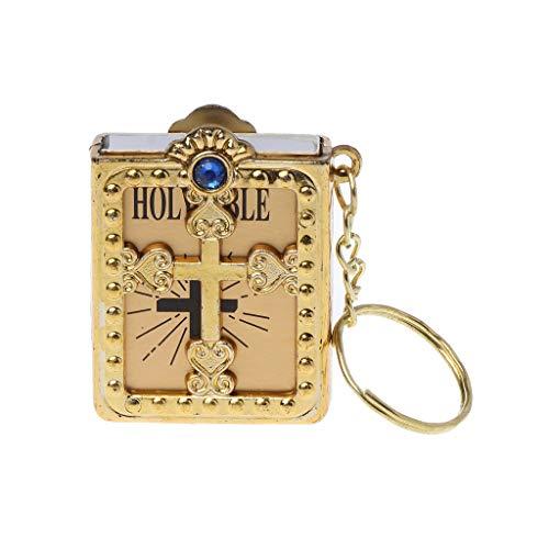 HEILIGE Bibel Keychain Religiöse Christian Jesus Kreuz Schlüsselanhänger Geschenk Gold ()