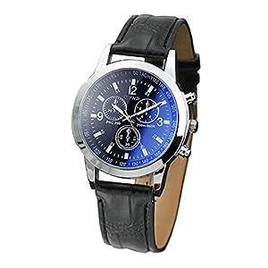 Herren Klassisch Blu-ray Glasuhr Uhren Neutrale Geschäft Freizeit Quarz Leder Armbanduhr Ehemann Groveerble