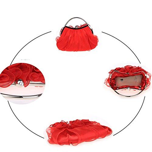 Nuovo fiori borsa borsa borsa da sera sposa di modo della borsa banchetto ( Colore : Rose red ) Rosso