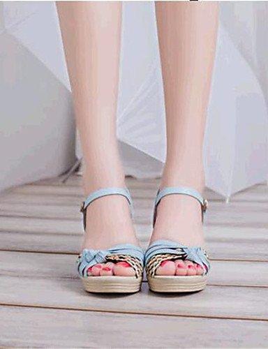 UWSZZ Die Sandalen elegante Comfort schuhe Donna-Sandali - Casual-Comoda Piatto-Finta - Haut - Blau/Rosa/Weiß, Rosa -6.5-7 US/EU 37/ UK 4,5-5/CN 37, Rosa -6.5-7 US/EU 37/ UK 4,5-5/CN 37 Purple