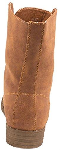 Elara Damen Stiefeletten | Bequeme Biker Boots | Lederoptik Schnürstiefeletten Camel South