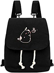 Remanlly Fashion Women's Buckle Canvas Cute backpacks Mini Backpack for girls Travel Backpack Casual Bag W