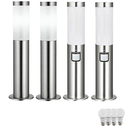 4er Set Edelstahl Steh Leuchten Außen Lampen IP44 Bewegungsmelder im Set inklusive LED Leuchtmittel