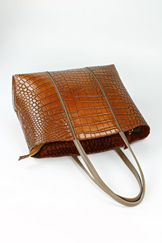 Belli - Borsa shopper Donna Marrone (cognac kroko)