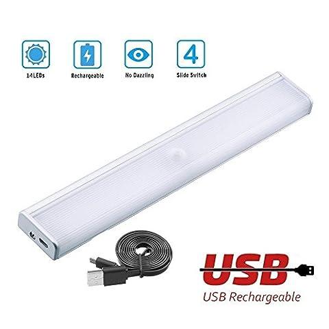 Kabinett-Licht - AINATU 14 LEDs Leuchten 4 Licht Modus LED Nachtlicht USB Ladenkabel, automatischer Nachtlichter mit Bewegungsmelder, Magnetstreifen installieren(weiße 6000K)