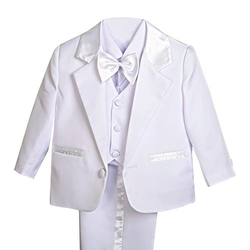 Lito Angels Baby Jungen 5 Stück set Formale Tuxedo Anzug Taufe Taufanzug Gr. 3-6 Monate Weiß