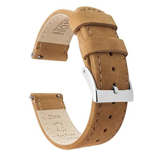 Barton Watch Bands Schnellverschluß. - Top Marke Leder Uhrenarmbänder - Wahl der Farbe und Breite (18mm, 20mm or 22mm) Braun Leder/Gingerbread Nahend 20mm Uhrenarmbänd