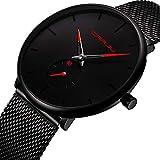 Herren Quarz Uhren Minimalistische Analoganzeige Datum Armbanduhr mit Milanese Mesh Edelstahl Rot