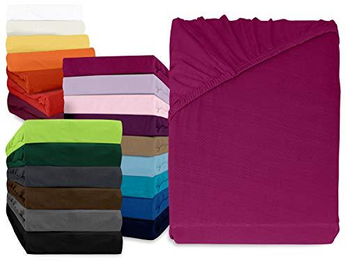 npluseins klassisches Jersey Spannbetttuch - erhältlich in 34 modernen Farben und 6 verschiedenen Größen - 100% Baumwolle, 90-100 x 200 cm, pink