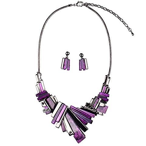 XZX High quality sheet metal Choker Necklace Earring Sets , purple