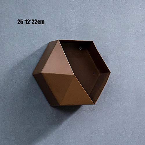 Nuovo scaffale esagonale in metallo moderno colore geometrico personalizzato soggiorno decorazione pareti portaoggetti portaoggetti artigianato in ferro,marrone,4pcs