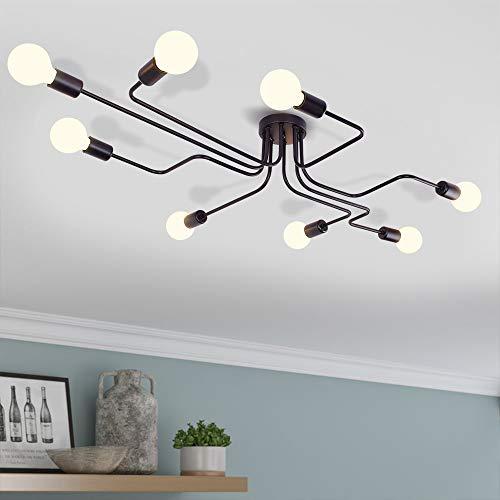 EDISLIVE Vintage Deckenleuchte Industrie Kronleuchter Lampe Pendelleuchte Leuchte für Schlafzimmer Wohnzimmer Cafe Hotel Bar (Schwarz-8 flammig) -