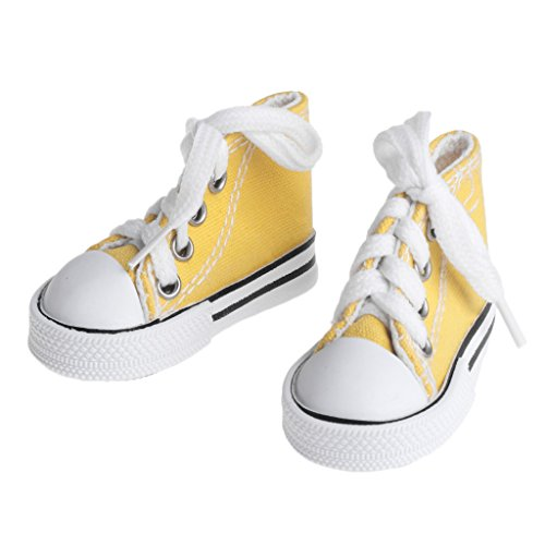 Denim Fashion Stiefel (Lamdoo Puppe Schuhe 1/4Zubehör Leinwand Fashion Sommer Toys Mini Sneakers Denim Stiefel, Canvas, Gelb, 7,5 cm)