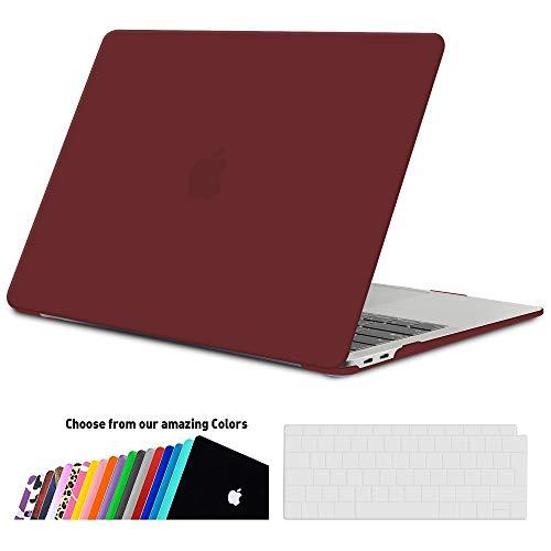 iNeseon MacBook Air 13 Hülle Case 2018, Ultradünne Hartschale Cover Schutzhülle + Tastaturschutz Apple MacBook Air 13.3 Zoll mit Retina Bildschirm Touch ID Modell A1932, Weinrot