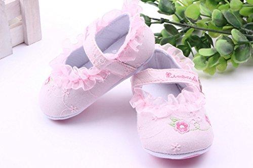 Smile YKK Geblümt Lace Ballet Stil Baby-Mädchen Lauflernschuhe 13 Pink Pink