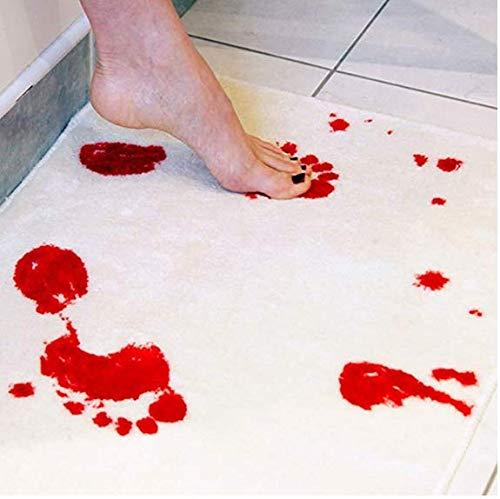 Wokee Halloween Blut Matt Badteppich, Badematte Blutspur Fußspuren Badematte Teppich Wasser Rutschfest-Blutige Badematte Farbwechsel Blatt verwandelt Sich rot nass Machen Sie blutende Fußabdrücke