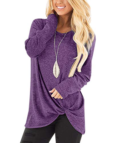 Yidarton Damen Langarm T-Shirt Rundhals Ausschnitt Sweatshirt Hemd Lose Asymmetrisch Bluse Tops (Lila, X-Large)