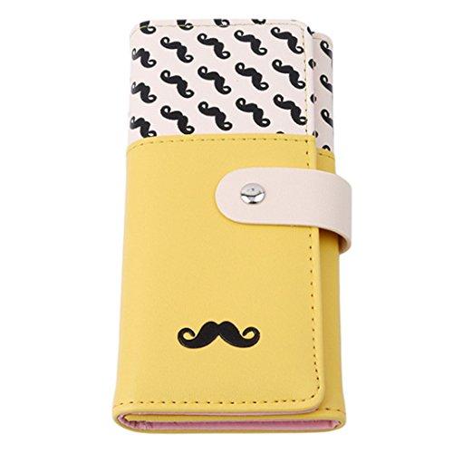 joofff Damen PU Handtasche Geldbörse Karte Schnurrbart Bart Muster Long Style Siehe Produktbeschreibung gelb