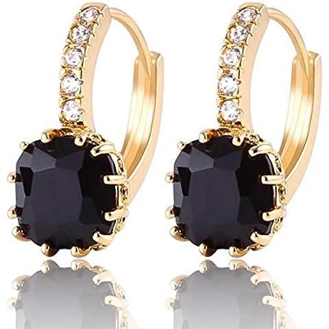 Orecchini da donna placcato oro 24K giallo nero cristallo zirconi alla moda orecchini a cerchio