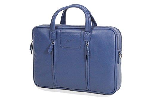Borsa porta-computer, Gérard Hénon in pelle di vacchetta liscia e morbida GH13204 Blu (blu)
