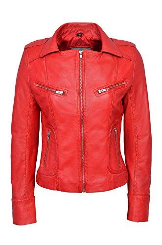 'Rider' da donna nero rosso blu verde marrone chiaro bianco sbiadito Biker per morbido Real Nappa Custodia in pelle Rosso