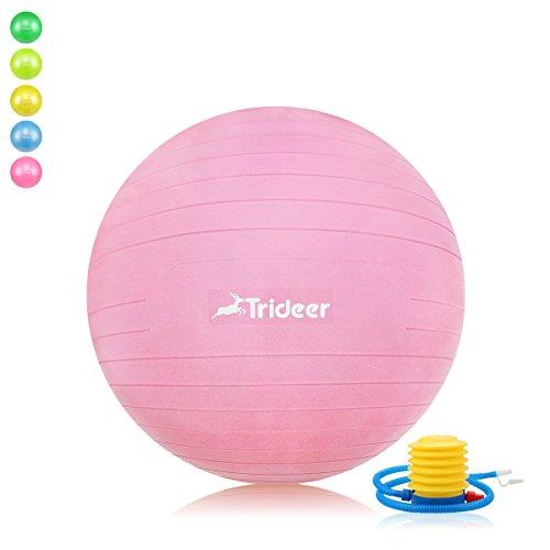 Trideer Robuster Gymnastikball Sitzball Pezziball von 45cm 55cm 65cm 75cm & 85cm inkl. Ballpumpe (Rosa, 45cm ( Geeignet für 142cm oder weniger ))