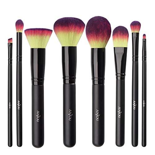 Pinceaux Maquillage Anjou Kit de 8pcs, Poils Synthétiques Vegan, 100% Sans Cruauté, Soyeux et Denses, pour Produits de Toute Consistance (Poudres, Crèmes, Liquides) (Premium Coloré)