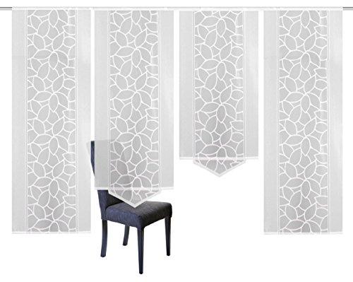 Home Fashion 94534-101 | 4er-Set SCHIEBEGARDINEN | Jacquard, Farbe: weiß, Maße: 2x 225x57 cm, 1x 145x57 cm und 1x 160x57 cm