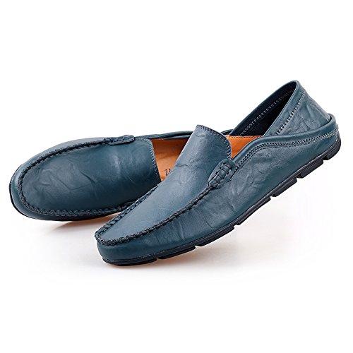 Shenn Homme Conduire UNE Voiture Glisser Sur Confort Cuir Mocassins Chaussures 20138 Marine