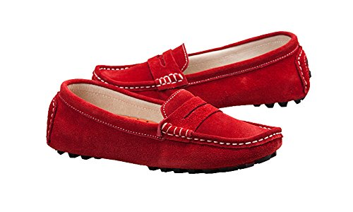 Bdawin Damen Mokassin Wildleder Loafers Schuhe Flache Fahren Halbschuhe Slippers Rot