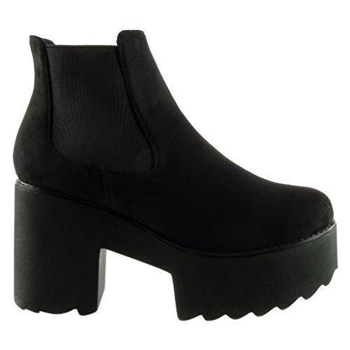 Angkorly - damen Schuhe Stiefeletten - Chelsea Boots - Plateauschuhe - Biker Blockabsatz high heel 9 CM Schwarz