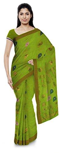 Kota Doria Sarees Women's Kota Doria Handloom Cotton Silk Saree With Blouse Piece (Green)