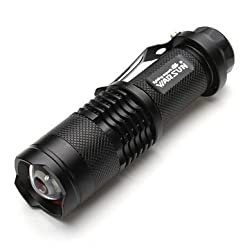 Warsun XP-E 7w 140 Lumens 3 Modes Zoomable LED Flashlight 1xAA