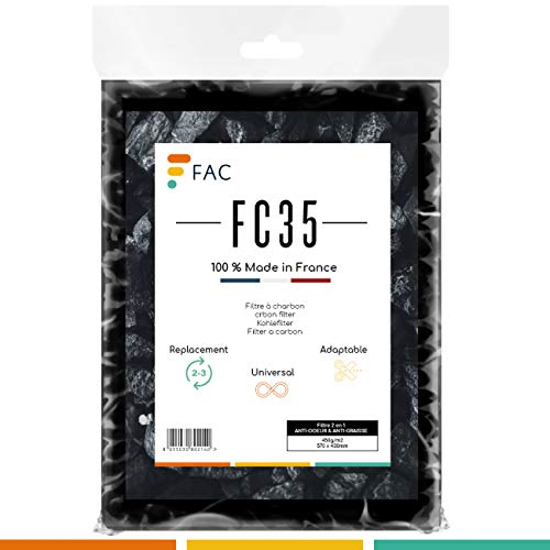 Fac FC35 - Filtre Universel pour Hotte au Charbon Actif à découper Selon Besoin - Taille 47 * 57 cm. - Fabrication 100% Française (bicouche)