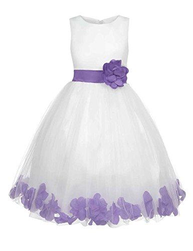 HOTOUCH Mädchen Spitze Kleid Kinder Maedchen Kleid festlich Party Kleid Festzug Hochzeit Weiss (Spitze Tee Schöne)