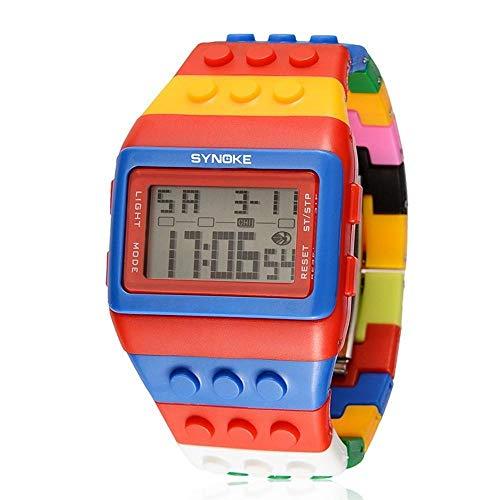 ChenHui Mode Persönlichkeit Rainbow Ziegel Watch führte elektronische Uhr leuchtende Schüler Watch