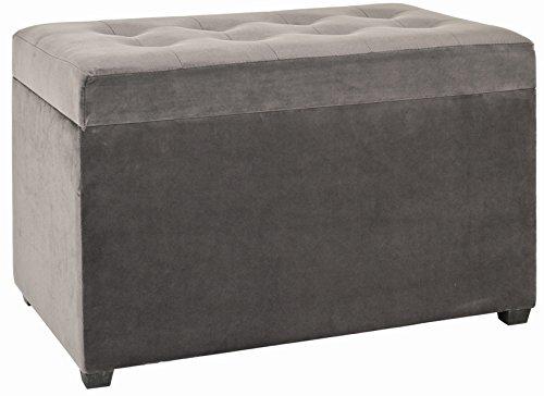 PEGANE Coffre de rangement en MDF coloris gris - Dim : L 65 x P 40 x H 42 cm