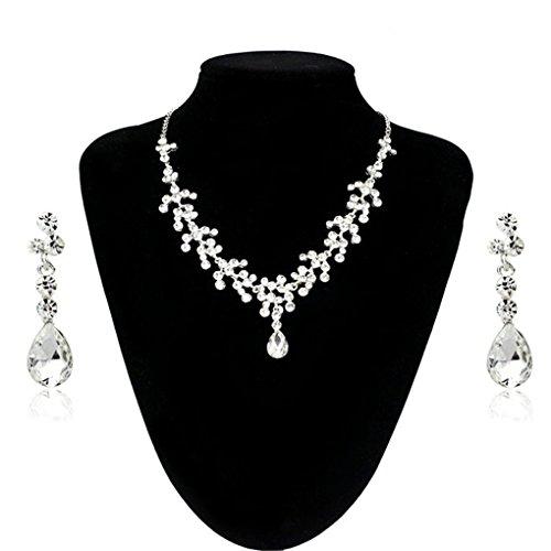 4-ring-diamant-herz 1 (Halsband Lätzchen Choker Statement Halskette Ohrringe Set mingfa Frauen Mädchen Strass Kristall Anhänger Charm Schmuck Hochzeit Brautschmuck Geschenk)