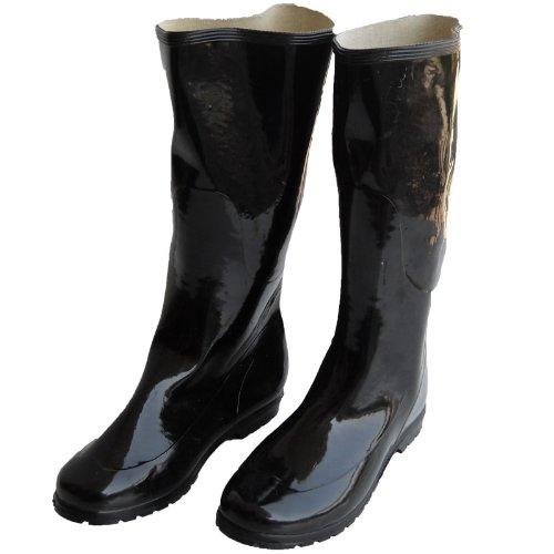 Botas Botas De Goma Negras Resistentes Brillantes Lluvia Fría Invierno Negro
