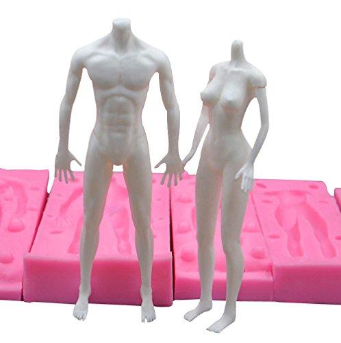 Beauty's Castle 3D männliche und weibliche Modeling-Silikonform Sugarcraft Puppen Formen Fondant Backen Werkzeug Fimo Polymer Ton Puppen-Form Man And Woman