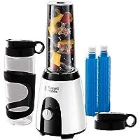 Russell Hobbs 25161-56 Horizon Mix & Go Boost - Batidora de Vaso Individual (400 W, Sin BPA, Blanco y Negro, 2 Vasos de 600 ml, 2 Tubos Refrigeradores)