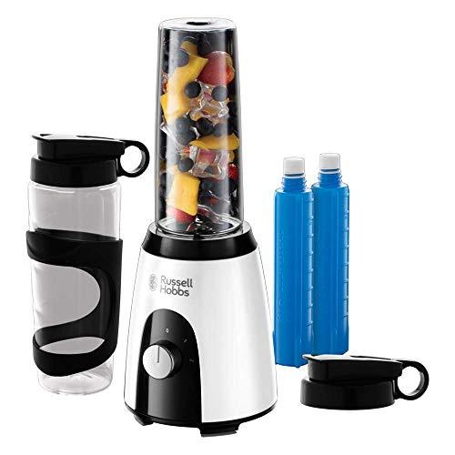 Russell Hobbs Horizon Mix & Go Boost 25161-56 - Batidora de Vaso Individual para Smoothies, 2 Vasos de 600 ml y 2 Tubos Refrigeradores, sin BPA, 400 W, Blanco y Negro