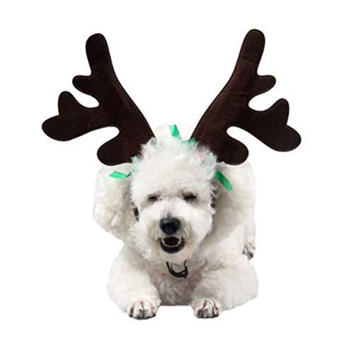 BESTOYARD Weihnachten Haustier Stirnband Hund Haarreifen niedlich Geweih Stirnband mit Bowknot für Weihnachten Festival Party Decor (grüne Bowknot Muster)