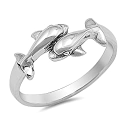 Two Dolphin Fashion Cute Whale Ring (Sizes 3 4 5 6 7 8 9 10) New .925 Sterling Silver Toe Band Rings by Sac Silver (Size 7)
