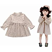 Viahwyt Super Nice Infant Spring Summer Baby Girls Clothing Floral Printing Long Puff Sleeves Princess Dresses Sundress Cute Toddler Kids Outfits Lolly Peter Pan Collar