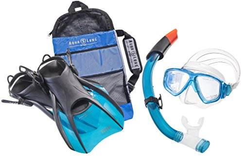 Aqua Lung Sport La Costa Travel Deluxe 3er Set (Tauchmaske, Schnorchel & Flossen) inkl. Beutel - Aqua - Gr. 44-48