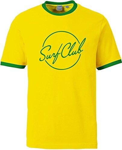 EZYshirt® Surfclub Herren Rundhals Ringer T-Shirt Gelb/Grün/Grün