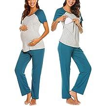 MAXMODA Ropa Premamá Lactancia Pijama Conjunto Maternidad Primavera Pijama Premamá Embarazo El ...