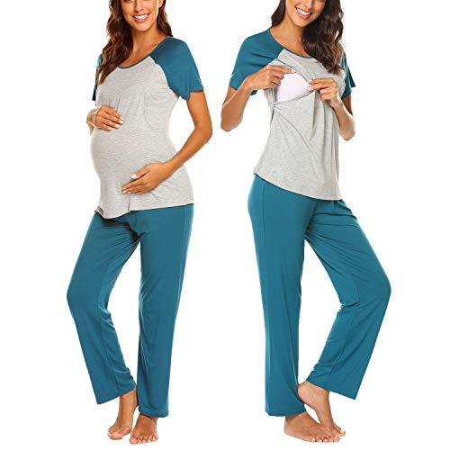 Seide Damen Kurzarm-schlafanzug (MAXMODA Damen Schlafanzug Kurzarm Umstandspyjama Set Sommer Stilltops Mama Pyjama Grün S)